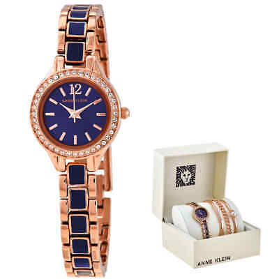 Anne Klein Navy Dial Ladies Watch and Bracelet Set AK/3396NRST