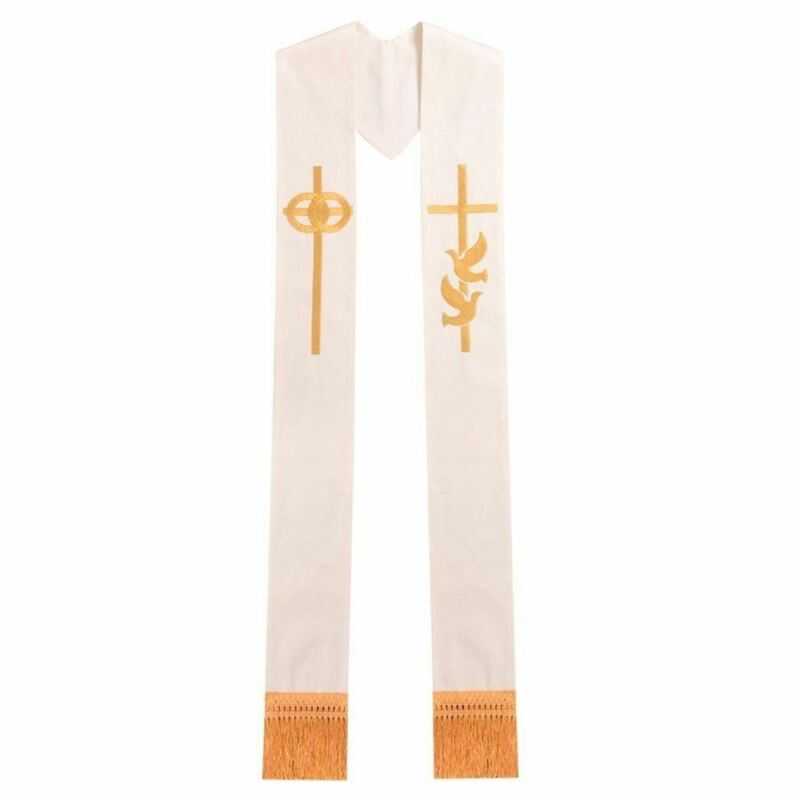 Blessume Single Dove Cross Stole Religion Priest Embroidery Wedding Ivory Stole