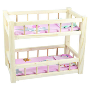 Children's Wooden Toy Pine Bunk Bed for Two Dolls With Mattresses and Pillows