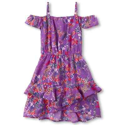 NWT The Childrens Place Girls Purple Floral Off Shoulder Ruffle Dress
