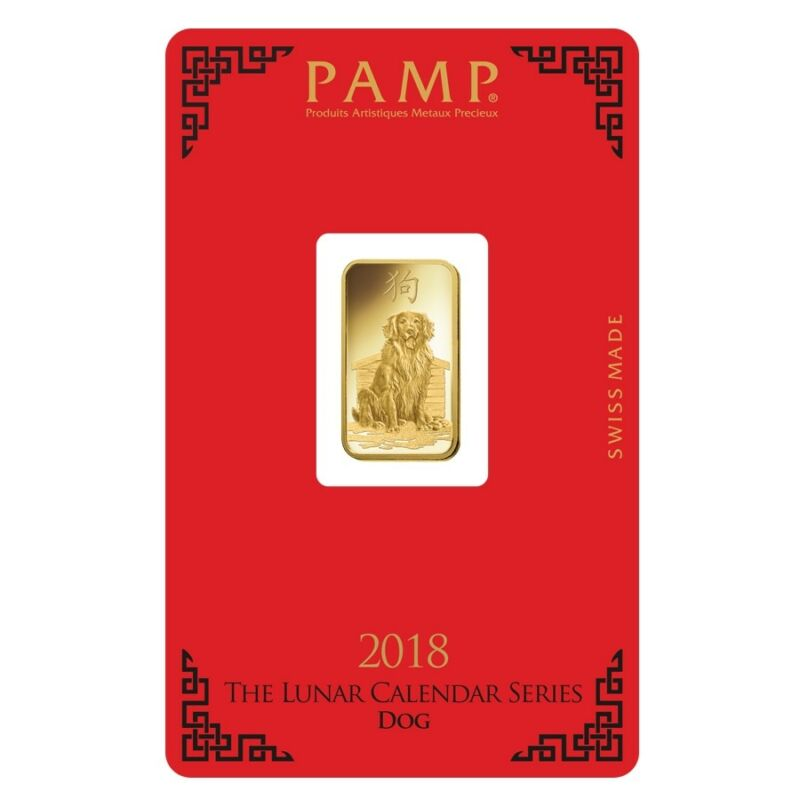 5 Gram Pamp Suisse Year Of The Dog Gold Bar (in Assay)