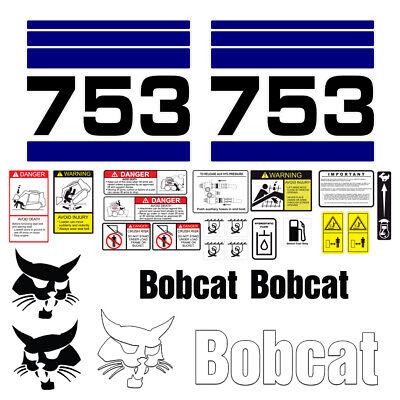 Bobcat 753 Skid Steer Set Vinyl Decal Sticker - 25 Pc - Free Shipping
