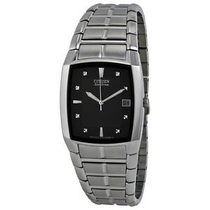 Citizen Eco Drive Black Dial Stainless Steel Mens Watch BM6550-58E
