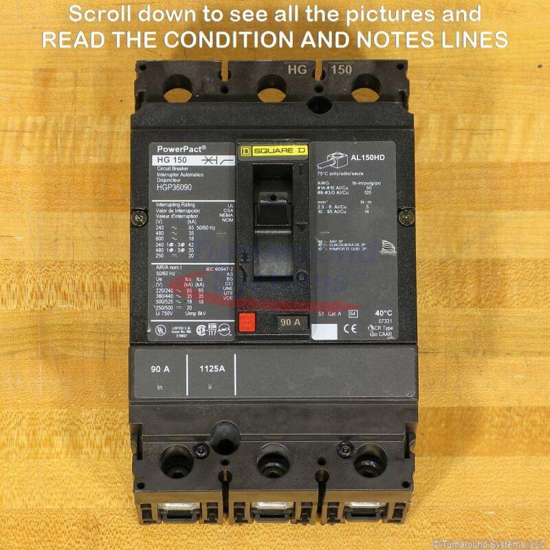 Square D Hgp36090 Circuit Breaker, 90 Amp, 600 Volt, New