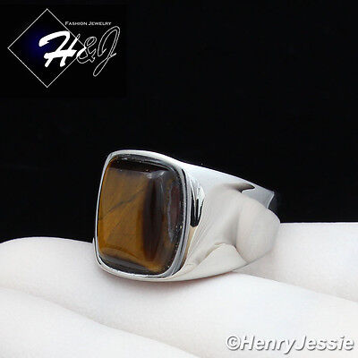 Mens Stainless Steel Tigers - MEN's Stainless Steel Tiger Eye Gemstone Stone Silver Ring Size 8-13*TR110