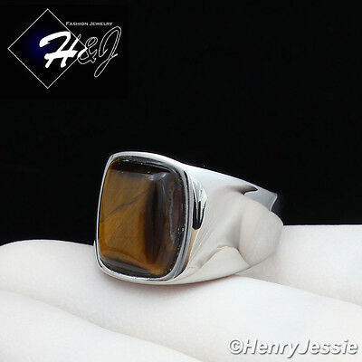 MEN's Stainless Steel Tiger Eye Gemstone Stone Silver Ring Size 8-13*TR110 - Eye Rings
