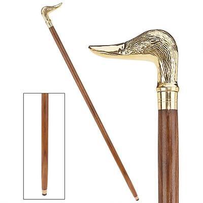 Elegant Walking Sticks - King Style Elegant Duck Polished Brass Hardwood Cane Walking Stick 36