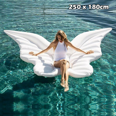 Giant Inflatable Angel Wing Float Raft Swimming Pool Beach Lounger Bed Toy Chair