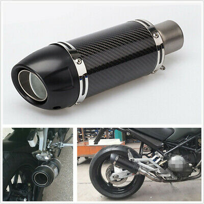 2 51MM REAL CARBON FIBER GLOSSY MOTORCYCLE ATVS EXHAUST MUFFLER WITH
