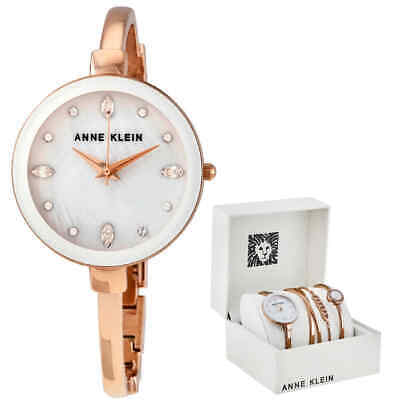 Anne Klein White MOP Crystal Dial Ladies Watch Set AK/3402WRST