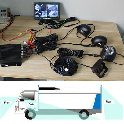 """Truck Lorry Bus DVR Video Recorder 7"""" Monitor Side Rear Front View Camera System for sale  Shipping to Nigeria"""