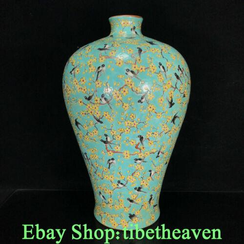 """14.8"""" Guangxu Old China Green Colour Enamel Porcelain Flower Bird Bottle Vase JL"""
