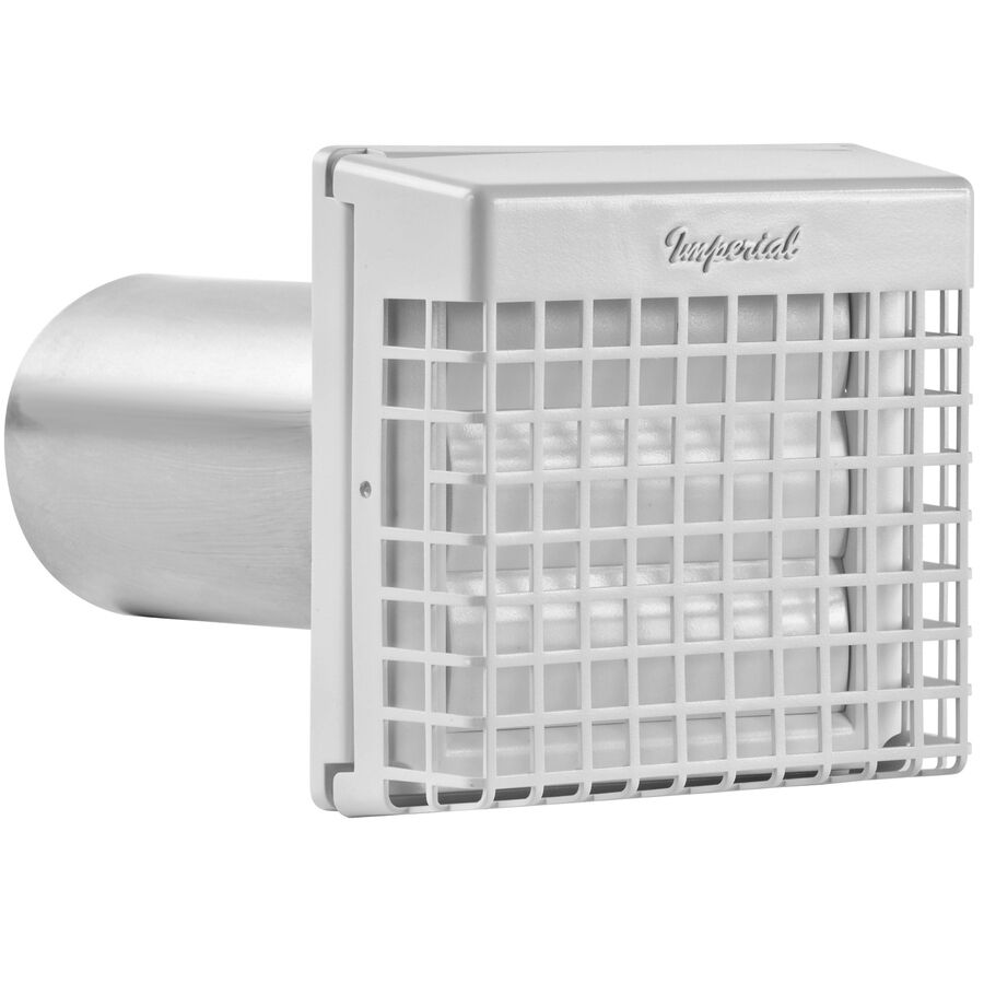 White Plastic Louvered Aluminum 4-in Dia x 10-in Duct with G