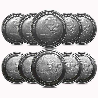 Lot of 10 - 1 oz Bull vs Bear .9999 Fine Silver Round Bullion Exchanges (RMC)