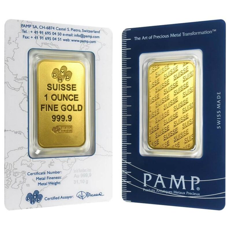 Lot Of 2 - 1 Oz Gold Bar - Pamp Suisse - New Design (in Assay)