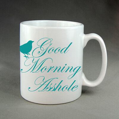 Good Morning Asshole Bird Funny Mug Gift Birthday Present Meme Rude Christmas