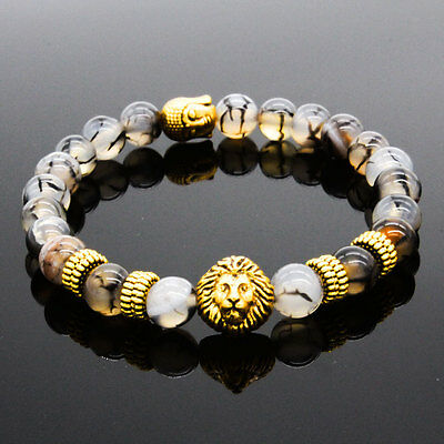 Men's Natural Stone Gold Lion Buddha Beaded Charm Bracelet 8MM Gift for Him USA
