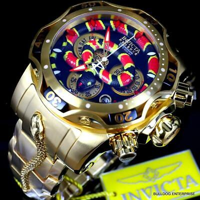 Invicta King Venom Cobra Swiss Mvt Chronograph 52mm Gold Plated Steel Watch New
