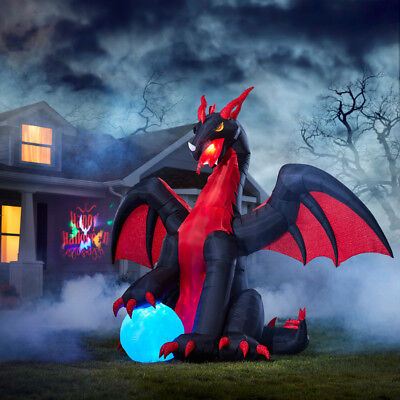 Inflatable Moving w Lights Halloween Dragon 9 x 11 ft Blow Up Yard Decoration