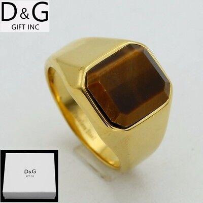 DG Men's Stainless-Steel Gold Brown Tigers Eye Ring Size:8.9,10,11,12 + Box
