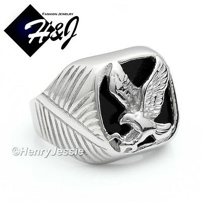 Silver Onyx Eagle Man Ring - MEN's Stainless Steel Silver Black Onyx EAGLE Ring Size 8-13*R79