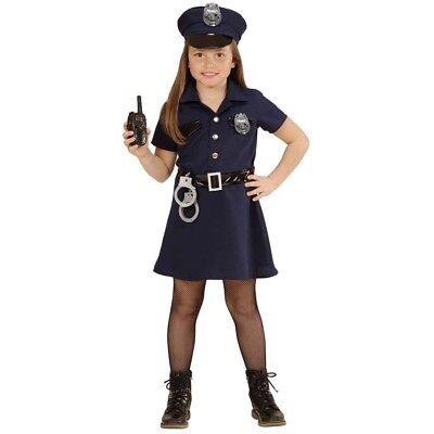 KINDER POLIZISTIN KOSTÜM SET Karneval Mädchen Polizist Cop Kleid Hut Mütze 4908