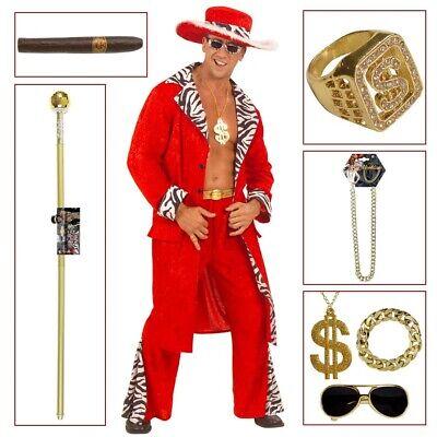 ROTES PIMP HERREN KOSTÜM Zuhälter Gangster Rapper Prollo Macho Accessoires - Zuhälter Kostüm