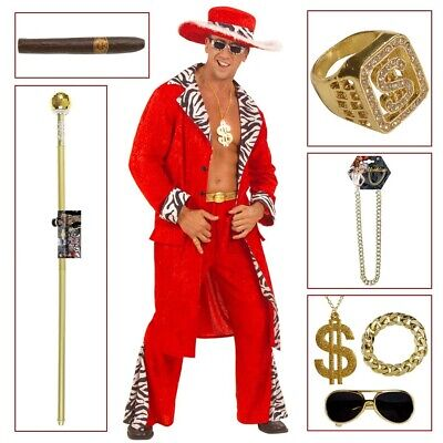 ROTES PIMP HERREN KOSTÜM Zuhälter Gangster Rapper Prollo Macho Accessoires 5785 (Gangster Kostüme)