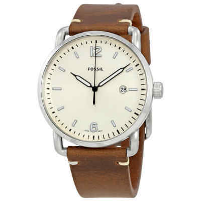 Fossil The Commuter Cream Dial Brown Leather Men's Watch FS5275