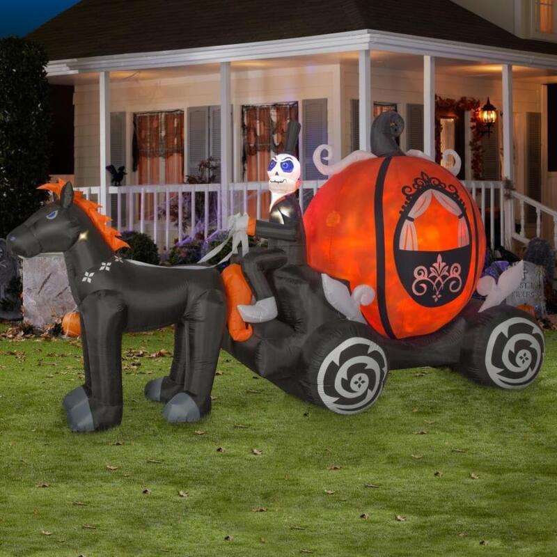 11.5 ft  Ghost Skeleton Carriage Lighted Halloween Inflatable Airblown Yard