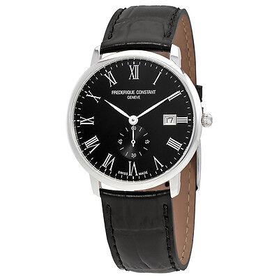 Frederique Constant Slimline Black Dial Mens Black Leather Watch FC-245BR5S6