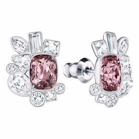 Swarovski Formidable Pierced Earrings - Pink Main Crystal 100% Authentic