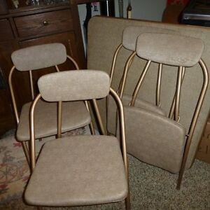 4 MID Century Hamilton Cosco Stylaire Deco Folding Chair AMP Card Table SET