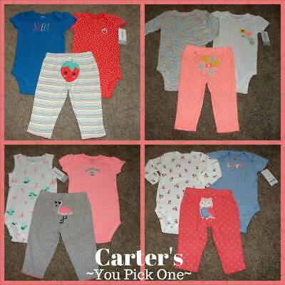 Baby Girl Clothes Carters NB 3 6 9 12 24 Months Newborn Size 3pc Outfit Set NWT