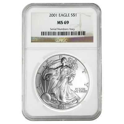 2001 1 oz Silver American Eagle $1 Coin NGC MS 69