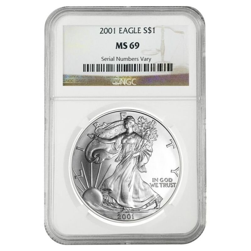 2001 1 oz Silver American Eagle $1 Coin NGC MS 69