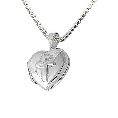 Heart Locket w/Embossed Cross Necklace Sterling SilverBy Cherished Moment-Lovely