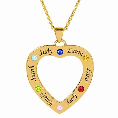 Personalized Family Heart Shaped Necklace Pendant with Birthstones and -