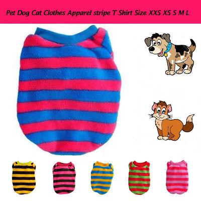 (Cool Dog Winter Stripe Pet Top Puppy Cat Apparel T-shirt Coral Fleece Cute r)