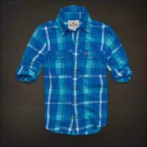 HOLLISTER BY ABERCROMBIE MENS LONG SLEEVE BUTTON DOWN FRONT PLAID FLANNEL SHIRT