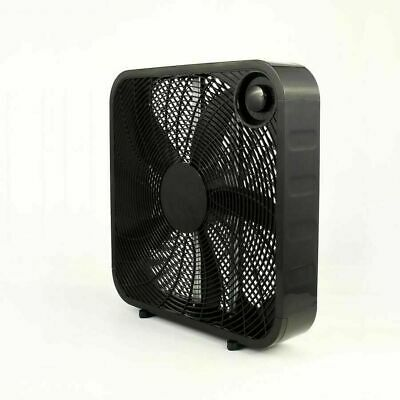 PELONIS Box Fan 20 in. 3 Speed Black Carry Handle Portable Indoor Quiet Air (Flow Air Box)