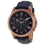 Fossil Grant Multi-Function Navy Dial Navt Leather Mens Watch