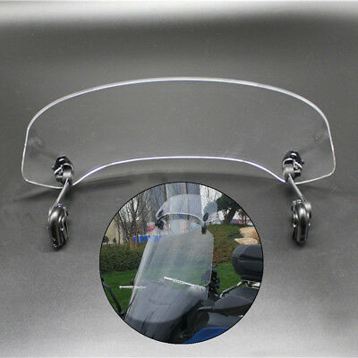 Universal Clear Moped Scooter Windshield Clip On Extension Wind Deflector Baffle