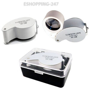 Eye Glass Lens 40x25mm Magnifying Loupe With LED Pocket Size Magnifier Jewelers