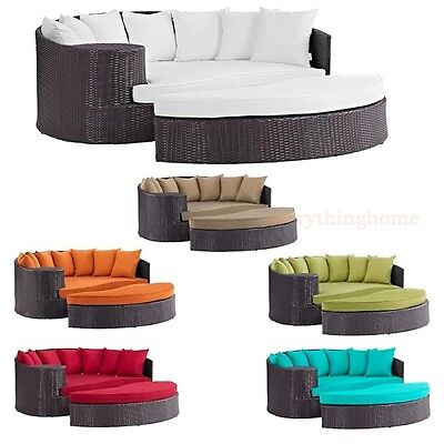 Outdoor Patio Espresso Rattan Round Day Bed Lounge Sofa UV Resistant Synthetic ()