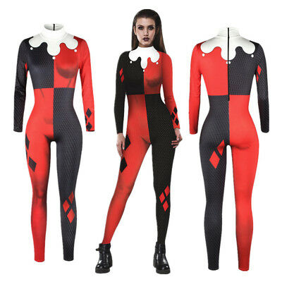 Suicide Squad Harley Quinn Cosplay Women Halloween Costume Bodysuit