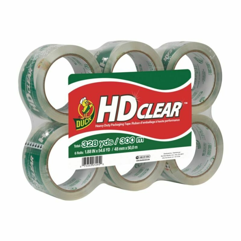 Duck HD Clear Heavy-Duty Packaging Tape, 6-Pack