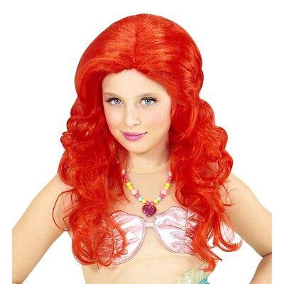 MEERJUNGFRAU PERÜCKE ROT KINDER # Karneval Fasching Nixe Kostüm Mädchen # 74969
