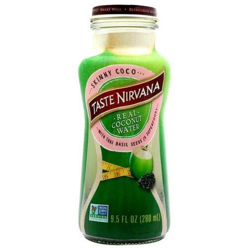 Taste Nirvana Real Coconut Water with Thai Basil Seeds 9.5 oz ( Pack of 12 )