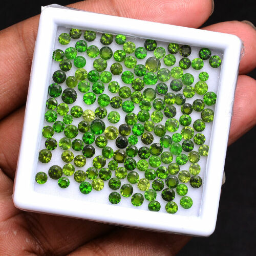 147 Pcs Natural Chrome Diopside Stunning Vivid Green Round Cut Loose Gemstones